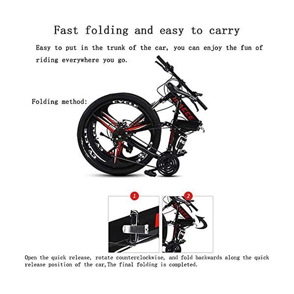 Folding Bikes Acptxvh Mountain Bike for Men Women, Folding Lightweight Aluminum Full Suspension Frame Bicycle, 21/24/27-Speed, Three Wheel Cruiser Dual Disc Brake