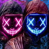 [2 Packs] LED Light Up Mask, Halloween Mask with 3 EL Cold Light Modes, Scary Face Mask Cosplay Neon Mask for Men Women Kids