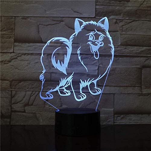 Ling Cute Dog S Led Night Light Illusion Lamp Gift Suitable For Boys And Girls Bedroom Bar Living Room Birthday Christmas Gifts Usb Charging Touch Mode 7 Color Variations