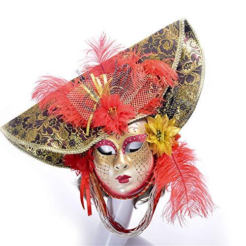 YBBGHH Venetiaanse carnaval maskerade masker handgemaakte gekleurde tekening hoed volgelaatsmasker masker kostuum party doorvoeren rekwisieten