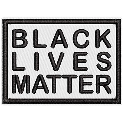 Wolfszeit Aufnäher -Black Lives Matter- ca. 7x5cm - rechteckig zum Aufnähen oder Aufbügeln (weiß-schwarz)