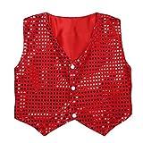 iEFiEL Boys Girls Sequined Vest Top Waistcoat Costume Kids Choir Jazz Dance Stage Performance Fancy Jacket Red 9-10