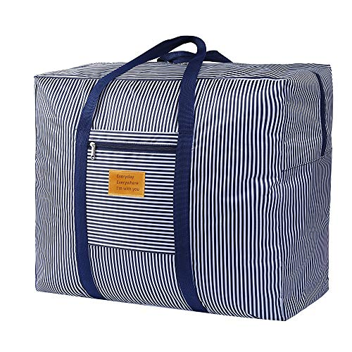 Storage Bags with Zips, Duvet Storage Bag, Large Storage Bags for Clothes, Bedding, Quilt, Blankets, Moving, Made of Better, Comfortable and No-Smell Fabric, Laundry Bags,Waterproof Blue