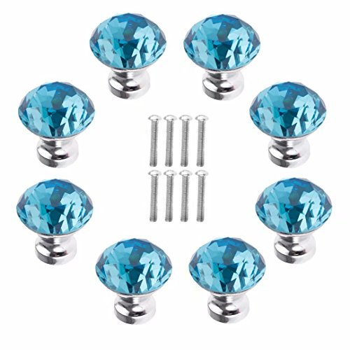 FBSHOP(TM) 8 Stück 30 mm Himmelblau Schrankknöpfe Schubladenknöpfe Möbelknöpfe Kristall Möbelgriffe Möbelknauf Schrankgriffe für Küche Büro Schlafzimmer-Möbel,