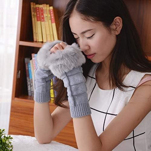 1Pair Fashion Women Faux Rabbit Fur Hand Wrist Crochet Knitted Fingerless Warmer Gloves Knitting Mittens Winter Autumn Warmer - (Color: A)