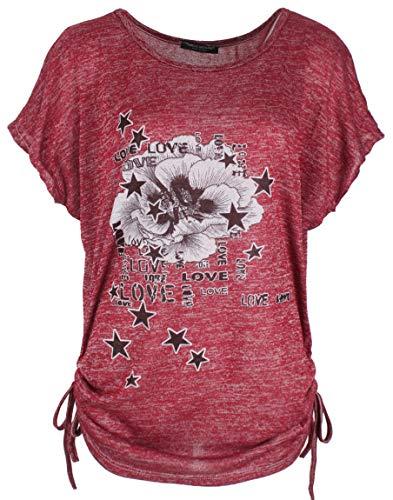 Emma & Giovanni - Sommer T-Shirt/Oberteile Kurzarm - Damen (# Bordeaux, DE 44/46 (Herstellergröße XL))