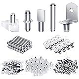 120Pcs Shelf Pegs Kit, 5 Styles Nickel Plated Shelf Pins Cabinet Shelf Pegs, Premium Shelf Support Pegs for Shelves Bookshelf Cabinet Shelf Clips (5mm & 6mm)