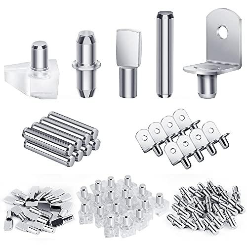 120Pcs Shelf Pegs Kit, 5 Styles Shelf Pins Shelf Support Pegs, Nickel Plated Kitchen Cabinet Shelf Pegs for Shelves Bookcase Bookshelf Pegs (5mm & 6mm)