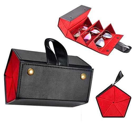 HHKX100822 Caja De Almacenamiento para MúLtiples Gafas De Sol, Estuche De Cuero para Gafas con 5 Ranuras, Organizador De Viaje para Gafas De Sol PortáTil Plegable A