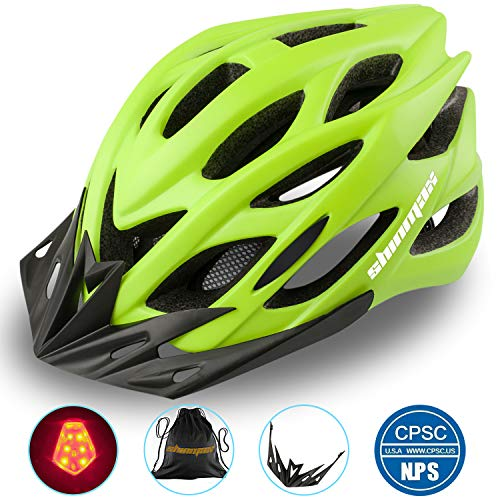 Shinmax Fahrradhelm mit LED-Licht, Einstellbarer Sicherheitsschutz Leichter Fahrradhelm für Fahrradfahren BMX Scooter Skate Mountain Road Fahrradhelm mit CE Zertifikat 57-62cm