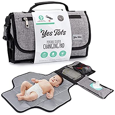 Portable Baby Changing Pad - Stylish Travel Diaper Clutch for Baby Girl or Boy - Wipeable Changing Station - Waterproof Diaper Changing Mat with Wet Wipes Pocket- Diaper Changing Station - Easy to use by Yes Tots