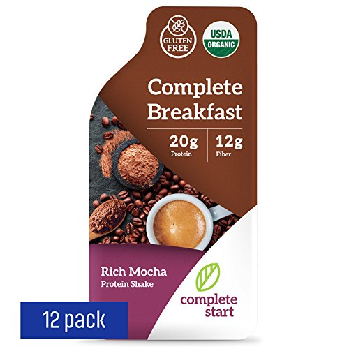 Complete Start Meal Replacement Shake | 12 meals - Rich Mocha | Plant-Based | Vegan | Gluten Free Weight Loss, Breakfast Nutritional Supplement | USDA Organic, Dairy Free, Non-GMO |