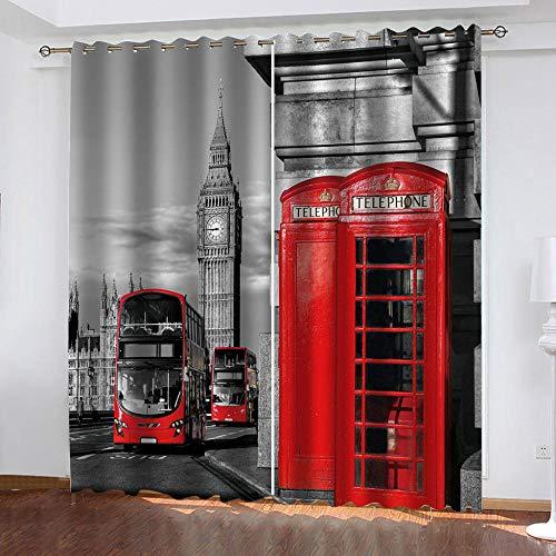 Muxiand Gordijn tegen lawaai, telefooncellen, bus, ondoorzichtig, moderne slaapkamer, warmte-isolerend, decoratie voor thuis, 2 stuks W117X138cmX2Ps