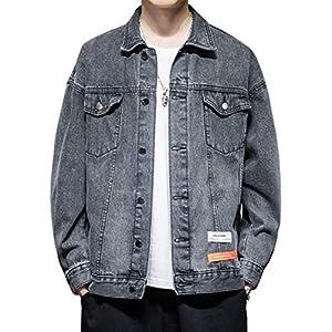 OKJCON デニム メンズ ジャケット ゆったり 春秋 綿 ジージャン カジュアル おしゃれ 大きいサイズ (ブラック, XL)