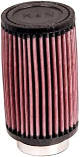 K&N RD-0700 Universal Clamp-On Air Filter: Round Straight; 2.5 in (64 mm) Flange ID; 4 in (102 mm) Height; 3.5 in (89 mm) Base; 3.5 in (89 mm) Top