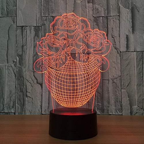 LIkaxyd LED 3D-nachtlampje, optische illusielamp 7 kleuren veranderen, Touch USB & batterij-aangedreven speelgoed decoratieve lamp, beste cadeau voor kinderen-Rozen in een vaas