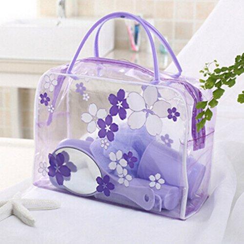 VWH Transparent Maquillage Cas Fleur Waterproof Cosmétique Sac de Toilette Zebra Voyage Bain Sac Organisateur (violet)