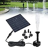SLATIOM Fuente de Agua alimentada por Panel Solar, Estanque, jardín, rociador de Agua con Bomba de Agua y 3 Cabezales rociadores
