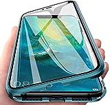 Aest Cover per iPhone 12 PRO/iPhone 12 Adsorbimento Magnetico Custodia 360 Gradi Protezione Doppi Lati Vetro Temperato Ultra Sottile Telaio Alluminio Metallo Case - Pacific Pacific Bluee