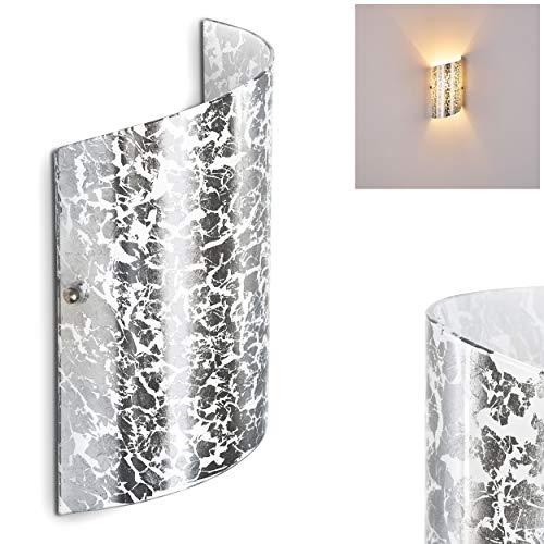 Wandlampe Pordenone aus Glas in Silber, moderne Wandleuchte mit Lichtspiel an der Wand, 1 x E14 max. 40 Watt, Innenwandleuchte mit Up & Down-Effekt, geeignet für LED Leuchtmittel