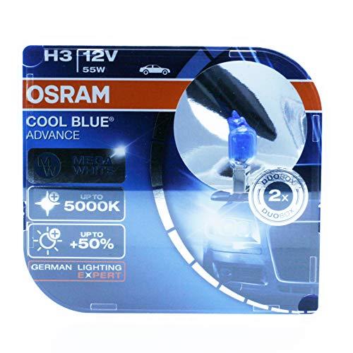OSRAM 2x H3 12V 55W PK22s COOL BLUE © ADVANCE 62151CBA 5000K BLANCO EFECTO XENON BOMBILLAS HALOGENAS