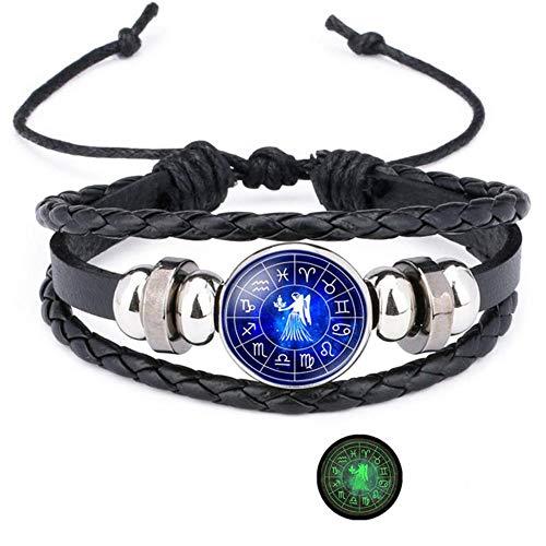 ASIG sterrenbeelden Armbanden Voor Vrouwen Mannen Armband Leer Gepersonaliseerde Zodiac Pulseras Man Armbanden Accessoires