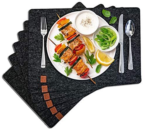 DARO Design - Platzset aus Filz 45x30cm - 6-Teilig Tisch-Untersetzer, Platzmatten, Filzmatten