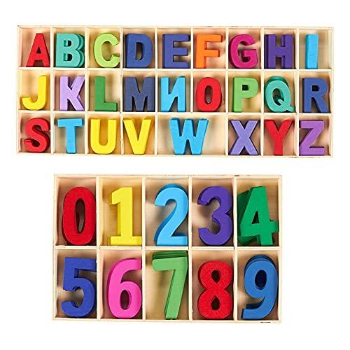 Syijupo Bunte Holzbuchstaben und -Nummern Set- 216pcs Farbige hölzerne Hauptbuchstaben & Zahlen Kleine hölzerne Alphabet-Handwerksbriefe