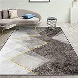 Alfombra para Habitacion Alfombras Online Baratas Diseño gráfico Abstracto de Oro Gris Alfombra Cuarto 140X200cm