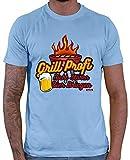 Hariz - Maglietta da uomo con scritta 'Grill Profi Nicht Stören Bier Bringen' [lingua tedesca] blu cielo S