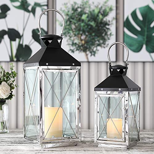 JHY DESIGN Set mit 2 dekorativen Laternen, 48,5 cm und 35,5 cm hohe Kerzenlaternen aus Edelstahl und Metall für den Innen- und Außenbereich, Events, Paritie und Hochzeiten im Vintage-Stil