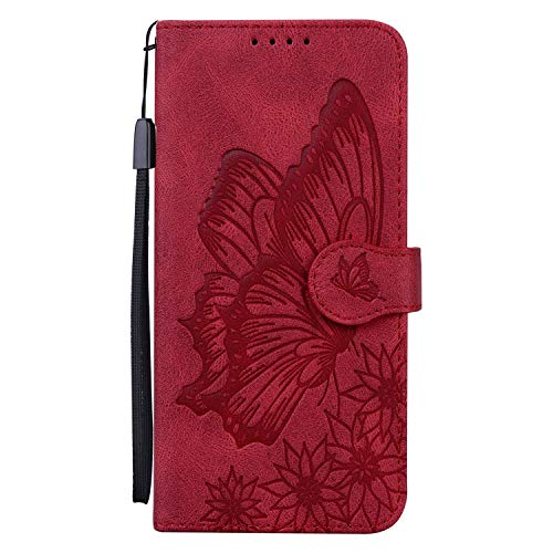 Funda de piel con tapa para Sony Xperia L4, diseño de mariposas, con cierre magnético, ranura para tarjeta y soporte, color rojo