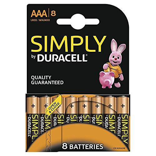 Duracell Simply Batterie Alcaline, Ministilo, AAA, Confezione da 8