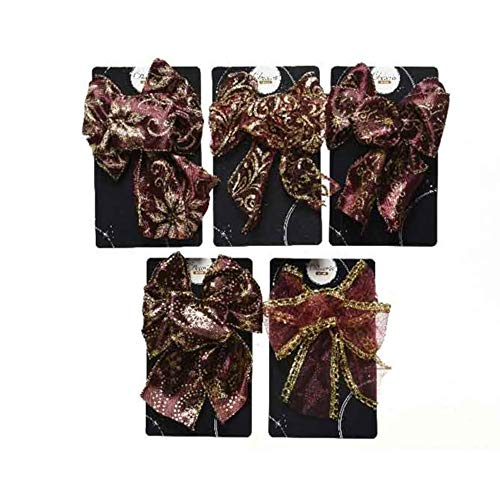 KAE Traditional Christmas Tree Fabric BOWS/RIBBONS - Set of 5 - Polyester - 15cm - RED, BURGUNDY or GOLD (BURGUNDY)