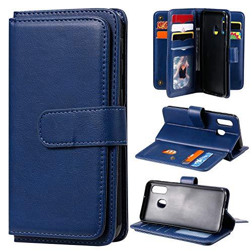Hülle für Galaxy A40 Hülle Handyhülle [Standfunktion] [Kartenfach] Tasche Flip Case Cover Etui Schutzhülle lederhülle klapphülle für Samsung Galaxy A40 - DEKT010132 Blau