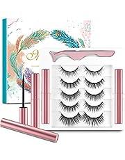 5 Paia di Ciglia Magnetiche con Eyeliner,Ciglia Magnetiche,Senza Colla e Riutilizzabili,Ciglia Finte Magnetiche 3D Naturali,Impermeabili e Resistenti Macchie,Incluse 1 Pinza e 2 Magnetico Eyeliner