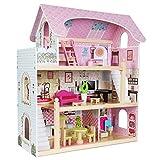 boppi Casa de muñecas de madera grande de 3 plantas para niñas con 16 accesorios de juego de muebles