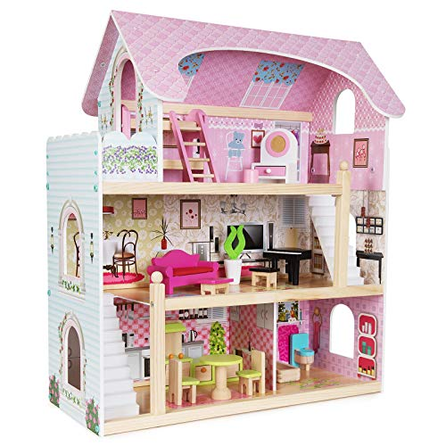 boppi Large Wooden 3 Storey Dolls Town House for Girls with 16 Furniture Play Accessories