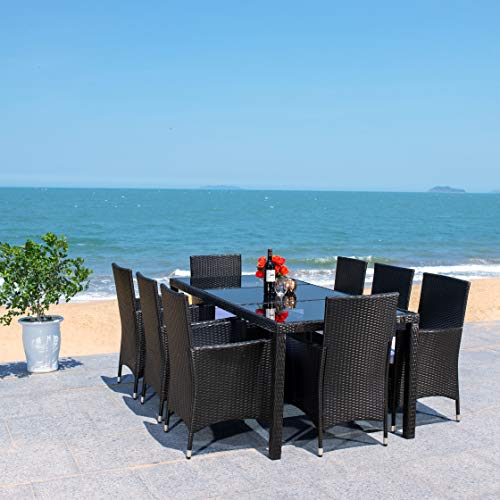 Safavieh Outdoor Collection Hailee Wicker 9-Piece Dining Set PAT7704A-4BX, Black/White Cushion