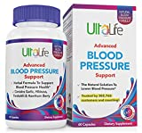 Top High Blood Pressure Support Supplements by UltaLife - Natural Hypertension Pills with Garlic, Hawthorn, Hibiscus & Forskolin. Vitamins & Herbs to Lower BP - Stress, Heart & Circulatory Health Pill