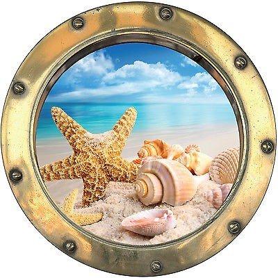 StickersNews 1115 - Adesivo da parete decorativo in trompe-l'oeil, motivo oblò con stella marina, 20 x 20 cm