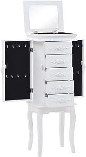 vidaXL Armario Joyero Pie Blanco Clóset Mueble Organizador Repisas Estantería