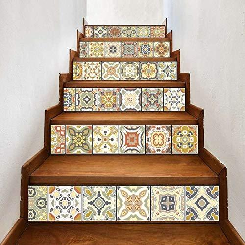 Leileixiao 6 unids 3D DIY Tile Wall Stair Stickers Autoadhesivo Impermeable Piso Art Etiqueta Etiquetas de Cocina Ceramic Art (Color : 025, Size : 18x100cmx6pcs)