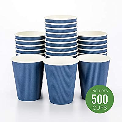 Disposable Paper Hot Cups - 500ct - Hot Beverage Cups, Paper Tea Cup - 12 oz - Midnight Blue - Ripple Wall, No Need For Sleeves - Insulated - Wholesale - Takeout Coffee Cup - Restaurantware