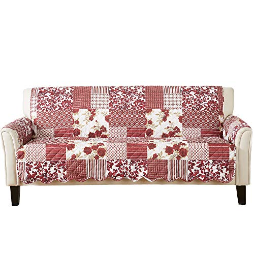 Patchwork Scalloped Printed Furniture Protector. Stain Resistant Couch Cover. (Sofa, Burgundy)