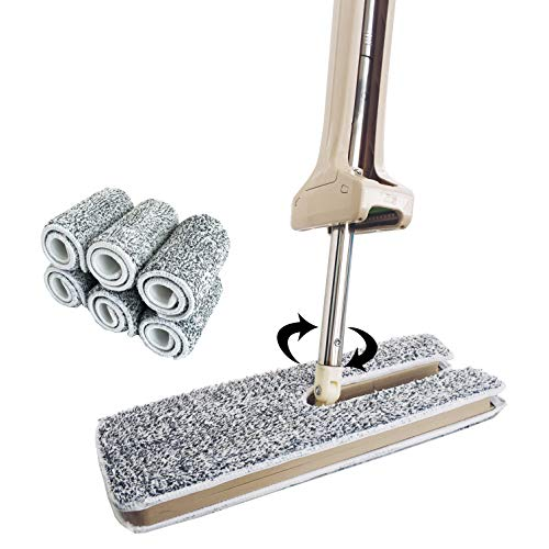 Kessica 4mpup Dual-Sided Flat Lazy 360 Degrees Rotation and Self-Wringing Wet & Dry Household Cleaning Mop. (Upgraded 4 Microfiber Pads)