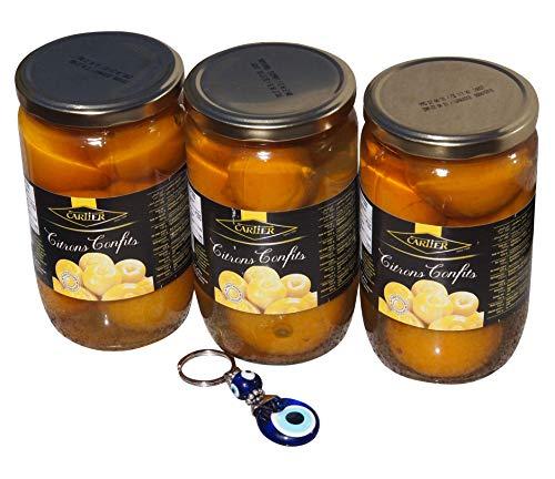 3 x 720g Cartier - Eingelegte Zitronen aus Marokko - Salzzitronen - Citrons Confits + Nazar Schlüsselanhänger