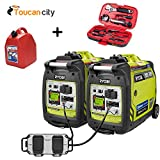 Ryobi Bluetooth 2,300-Watt Super Quiet Gasoline Powered Digital Inverter Generator with Parallel Combo Kit RYi23Combo and Toucan City Gas Can