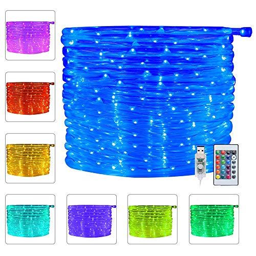 100 LED Lichtschlauch Außen LED Schlauch Lichterkette 10M USB Lichterschlauch mit Fernbedienung & Timer, Wasserdicht Lichtschlauch Bunt LED Lichtschlauch Außen Innen für Weihnachten Party dekor