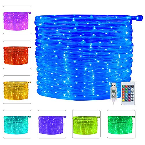 Ollny 100 LED Rope Lights 33ft 16 Colors Changing Indoor Lights USB Powered Multi Color Twinkle Rope Tube Fairy Lights with Remote for Indoor Wedding...